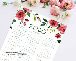 2020 Year At A Glance Calendar Red Roses