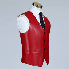 ho new 2018 sheep leather vest men fall thin red leather vest