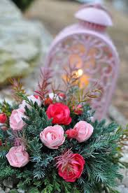 Cemetery Christmas Tree With Lights Candle Memory Roses Heart Cemetery Christmas