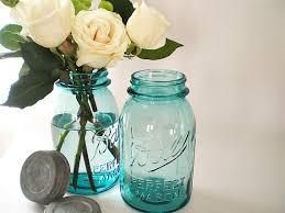 Blue Mason Jars Wedding Decor Blue Mason Jars Turquoise Wedding Decor Antique by vintagebiffann 85