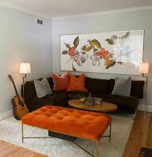 wall paint for brown furniture. heather garrett design orange tufted bench chocolate brown sectional sofa shag rug and gray walls paint color wall for furniture l