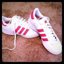 adidas shoes pink and white. adidas shoes - women\u0027s white \u0026 pink striped tennis and