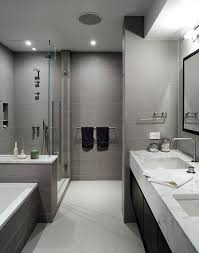 Awesome Modern Minimal Black White And Grey Tile Bath Contemporary Bathroom  Part 14