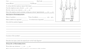 Work Accident Report Form Template Employee Injury Incident Free