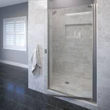 frameless single shower doors. Brilliant Frameless SemiFrameless Pivot Shower Door In Silver36004CL  The Home Depot In Frameless Single Doors E