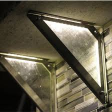 federal brace luminati lighted countertop support bracket 10 depth stainless steel with lighted artisan glass insert