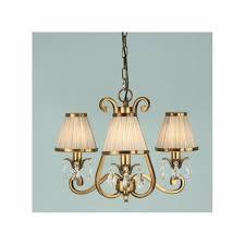oksana 3 light chandelier in antique brass with beige fabric shades