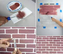 faux exposed brick stencil brick wall patterns