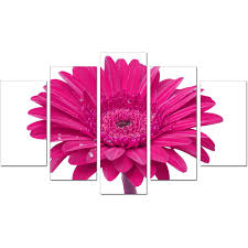Pink Living Room Set Extra Large Flower Canvas Wall Art 5 Piece In Pink