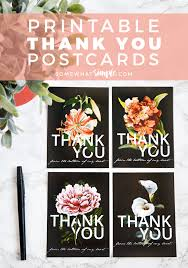 Free Printable Thank You Postcards Thank You Cards Free Printable Floral Postcards Somewhat
