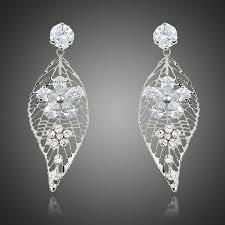 crystal chandelier earrings leaf design cubic zirconia drop earrings flower water drop earrings bridal earrings beach wedding
