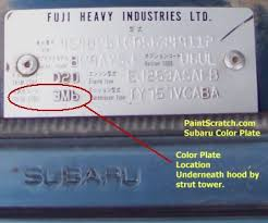 Subaru Colours Chart Subaru Touch Up Paint Color Code And Directions For