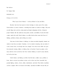 what causes school violence an essay related to cause and effect