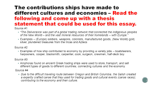 the contributions ships have made to different cultures and  the contributions ships have made to different cultures and economies the following and come