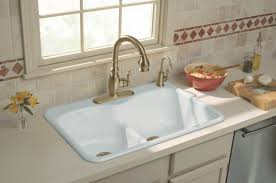 White Farmhouse Kitchen Sink Attractive White Color Cast Iron Kitchen Sink Featuring Double