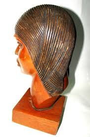 woman indian hand carved wooden sculpture art deco fr for
