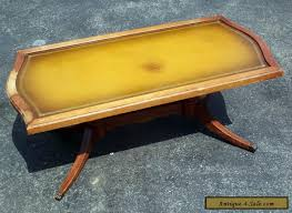 Maitland smith georgian style leather top mahogany coffee table. Antique Vintage Mersman Leather Top Coffee Table With Gold Trim For Sale In United States