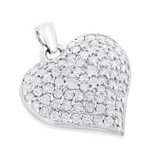 puffed hearts las 14k gold diamond heart pendant 1 5ct white image