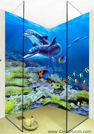 Bathroom Fish Decor 3d Wallpaper Dophins Coral Fish Wall Murals Bathroom Decals Wall