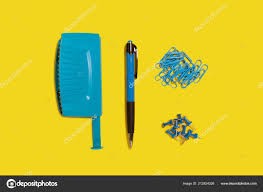 Bluehole Stock Chart Blue Hole Puncher Pen And Paper Clips Stock Photo