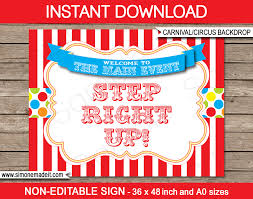 printable carnival backdrop step right up circus party decorations diy template