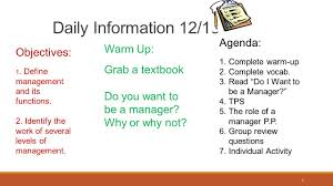 Daily Information 12 15 Agenda Warm Up Objectives Grab A