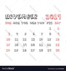 November November Calendar Calendar November 2019 Year In Cartoon Child