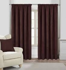 Faux Suede Ready Made Lined Curtains Chocolate