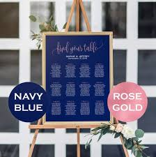 Wedding Seating Chart Staples 11 Sizes Rose Gold Foil Navy Blue Seating Chart Template Seating Chart Printable Seating Board Editable Seating Chart Poster Wedding Sign