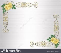 Templates Yellow Roses Wedding Invitation Border Stock Background Border Design Frame Gold Hearts Illustrated Invitation Ornamental Satin Valentine Wedding