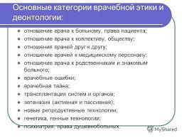 Презентация на тему Этика право и менеджмент в стоматологии Зав  6 Основные категории