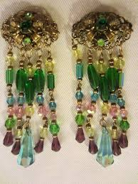 vintage pair of chandelier drop earrings clip on with characteristic of designer miriam haskell unsigned with gorgeous crystals rhinestones