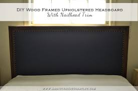 diy wood framed upholstered headboard with nailhead trim finished installed
