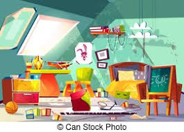 messy child attic bedroom interior cartoon vector