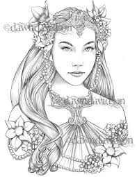 These princess coloring pages with long flowing gowns, unicorns and a handsome prince would make their the beautiful princess you see here is elsa, the snow queen. Queen Of The Elves Coloring Page Printable Colouring For Etsy Grayscale Coloring Coloring Pages Barbie Coloring Pages