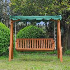 outsunny green wooden garden swing chair seat hammock bench furniture lounger