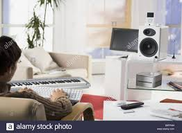 Man Living Room Living Room Man Young Sitting Keyboard Data Input Back View Detail