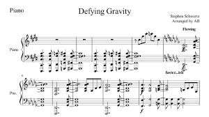 defying gravity sheet music defying gravity sheet music pdf broadway glee cover w lyrics