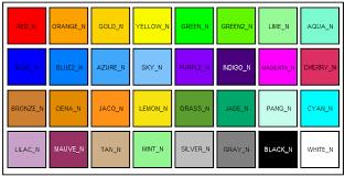 کد رنگ ها