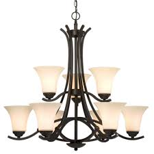 nine light chandelier oil rubbed bronze with white glass