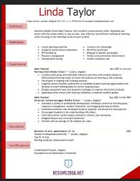 Resume Template Teacher Basic Example 1 Examples Marevinho