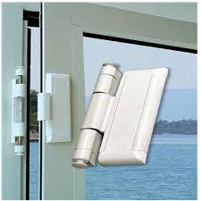 lockit double bolt sliding glass door lock shown in white black