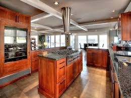contemporary kitchen with cherry finish cabinets