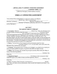 Business Operating Agreement Iowa MultiMember LLC Operating Agreement Form EForms Free 6