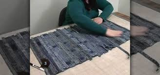 how to turn your old jeans into a rag rug sewing embroidery wonderhowto