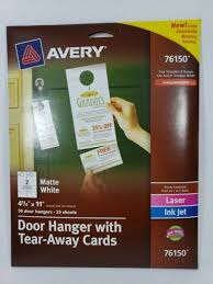 Avery Tri Fold Brochure Templates Avery Door Hanger W Tear Away Cards 4 1 4 X 11 Matte White 50 Tags Ave 76150