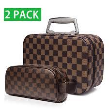 Designer Leather Makeup Bag Travel Makeup Bag With Mirror Premium Vegan Designer Make Up Bag Organizer Train Case For Women Pu Vegan Leather Cosmetic Toiletry Travel Bag Brown
