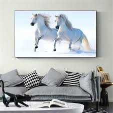 white horse wall art poster home decor canvas oil painting wall art white horse running in