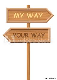 going separate ways. go your own way. signpost, that says my way and your way, as going separate ways e