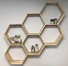 large oak wall shelf unit honeycomb shelves storage wooden